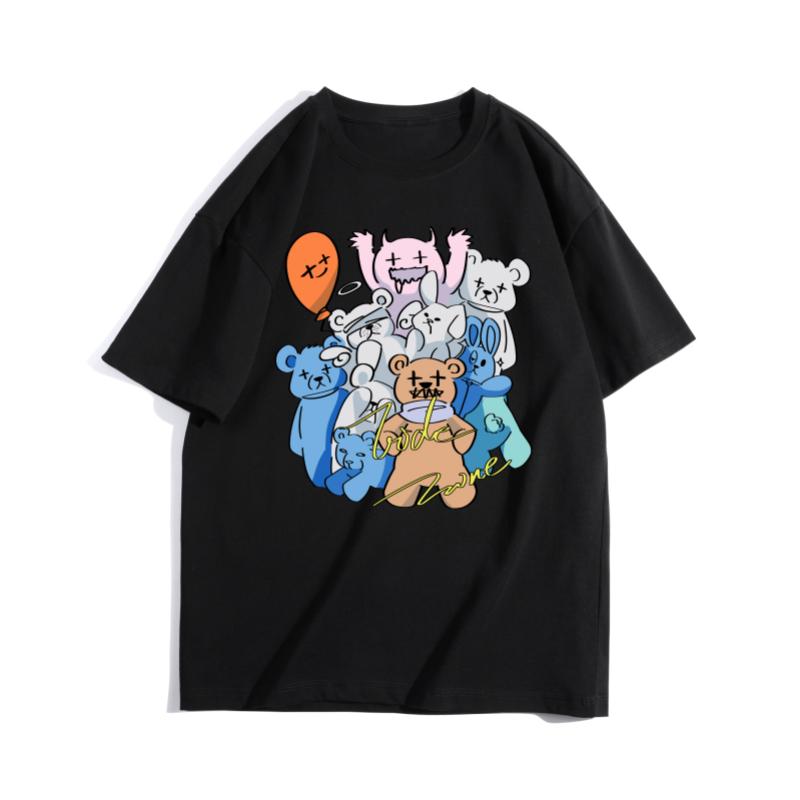 Zkrr fashion bear short sleeve summer fashion brand T-shirt girls Korean loose casual half sleeve couple T-shirt