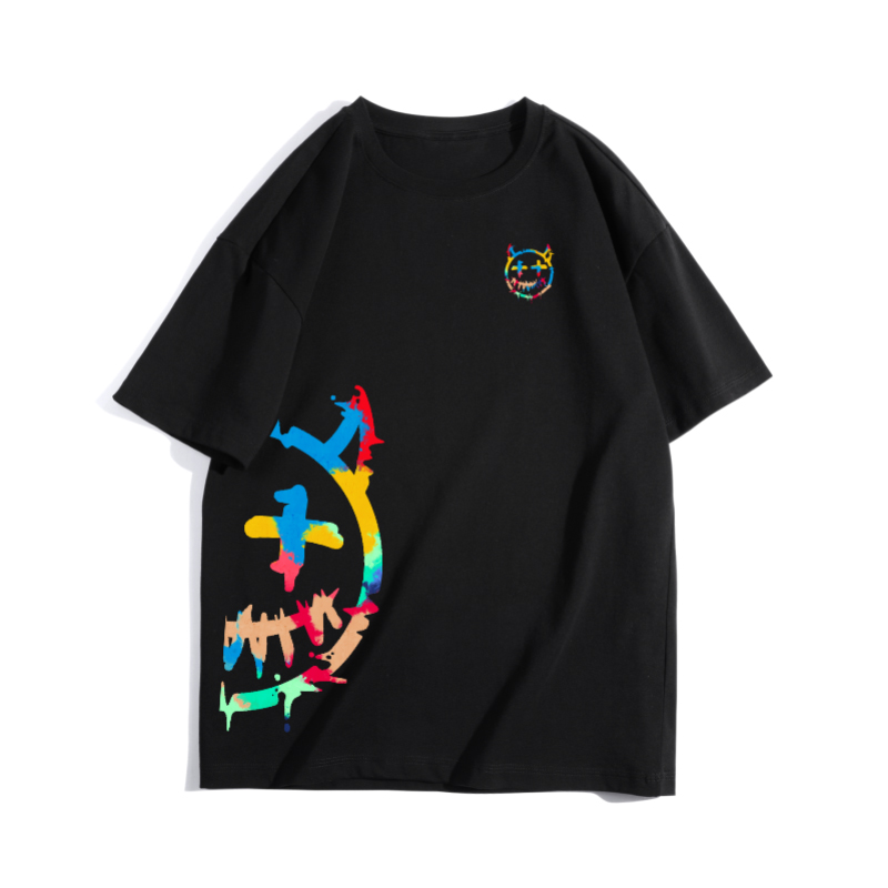 Zkrr fashion brand smiley face short sleeve female color devil T-shirt three-dimensional printing smiley face couple summer loose Guochao round neck T