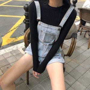 背带裤女短裤直筒宽松高腰显瘦浅色裤子2020新款夏季阔腿裤牛仔裤