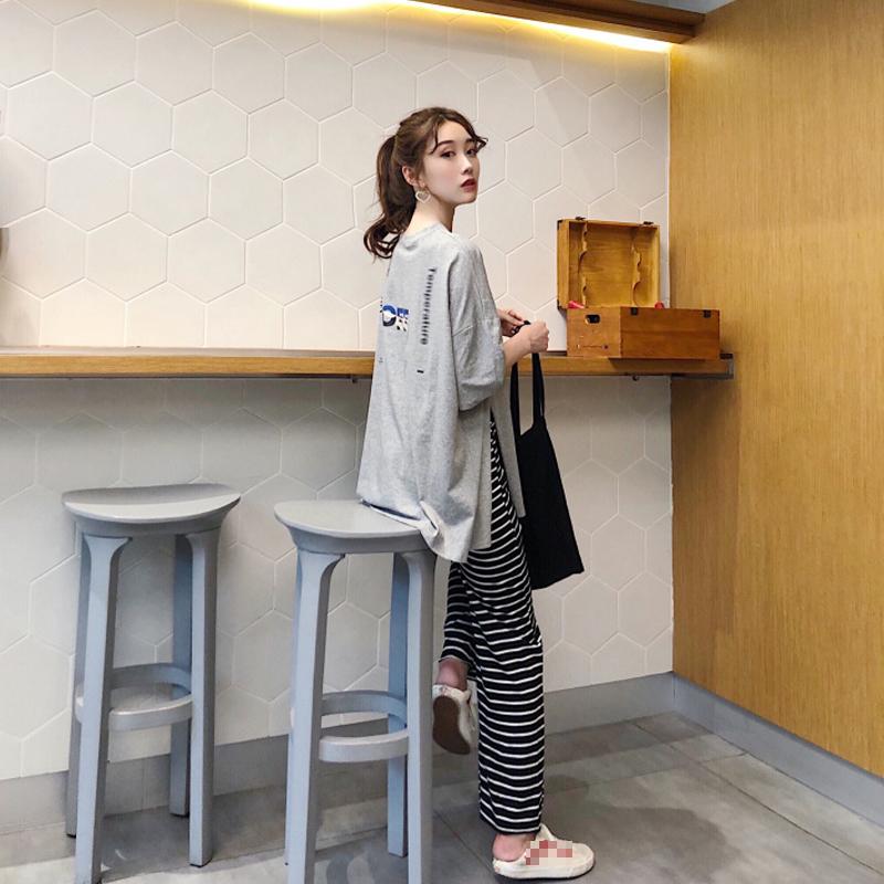 夏季2018新款宽松显瘦短袖T恤女+休闲条纹阔腿裤时尚两件套套装
