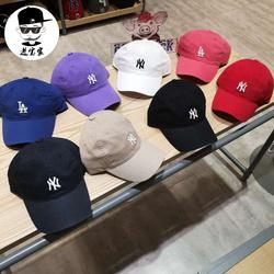 韩国MLB棒球帽男女鸭舌帽白色小标NY帽子软顶潮帽 ins情侣款CP77