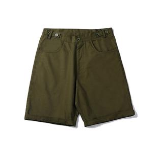 UNRETRO 夏季日系直筒工裝短褲bf中性寬鬆高腰軍綠色休閒五分褲女