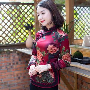 如意風冬款加棉旗袍上衣加厚唐裝短款中式小棉襖時尚民族風女裝