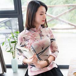 如意风秋款旗袍上衣唐装女中国风复古短款减龄修身长袖民族风女装