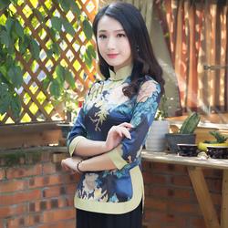 春秋款中式唐装女中国风旗袍上衣长袖盘扣复古时尚女士民族风女装