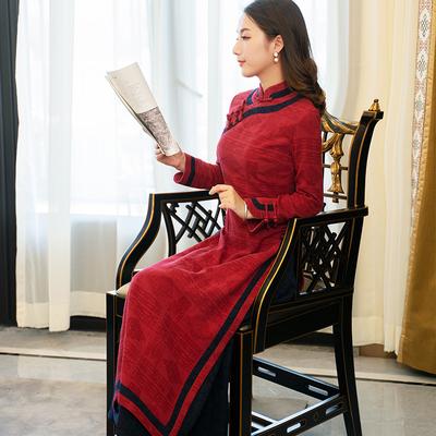 越南奥黛旗袍长款气质喜庆女装改良中国风加厚春秋季民国风连衣裙