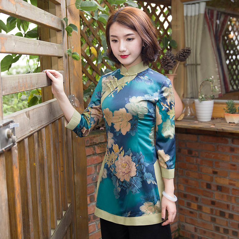 Ruyi style Tang suit female Chinese style cheongsam jacket long retro fashion tea dress traditional dress