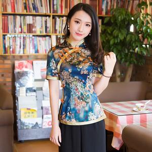 新式旗袍上衣高档民族风茶艺服饰女斜襟盘扣中式女装唐装中国风