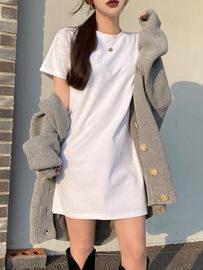 白色圆领短袖中长款T恤女上衣显瘦心机短裙打底衫纯棉连衣裙体恤