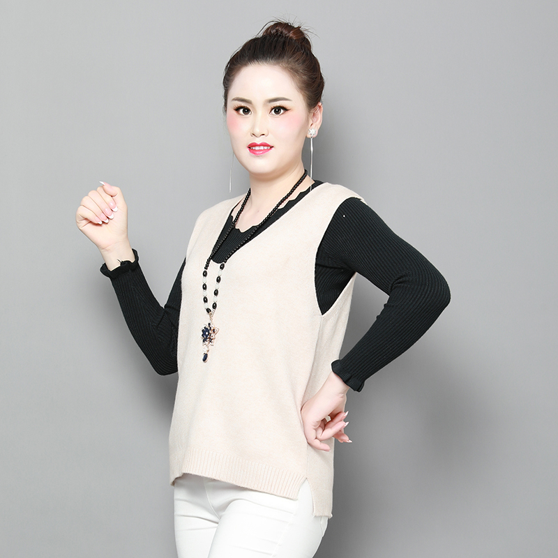 Spring and autumn 2020 new front long back short vest womens sleeveless sweater loose outerwear knitted vest