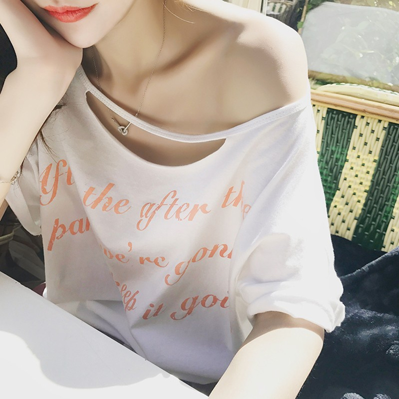 2021 summer new Korean one line collar off shoulder short sleeve T-shirt letter printed T-shirt womens half sleeve personalized top