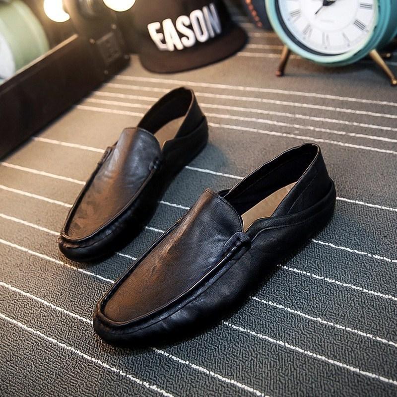 夏季精神男豆豆鞋平底社会小伙皮鞋一脚蹬百搭不系带冬季加绒鞋子图片