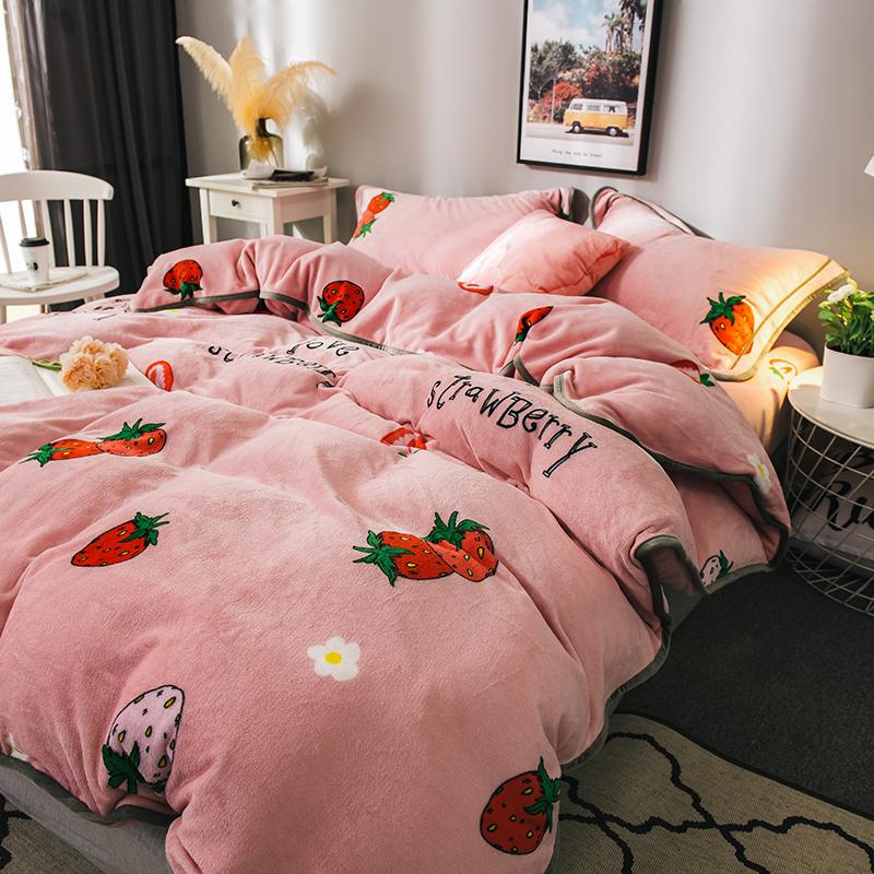 冬季床上用品珊瑚绒四件套儿童防静电法兰绒被套加厚床单男孩卡通
