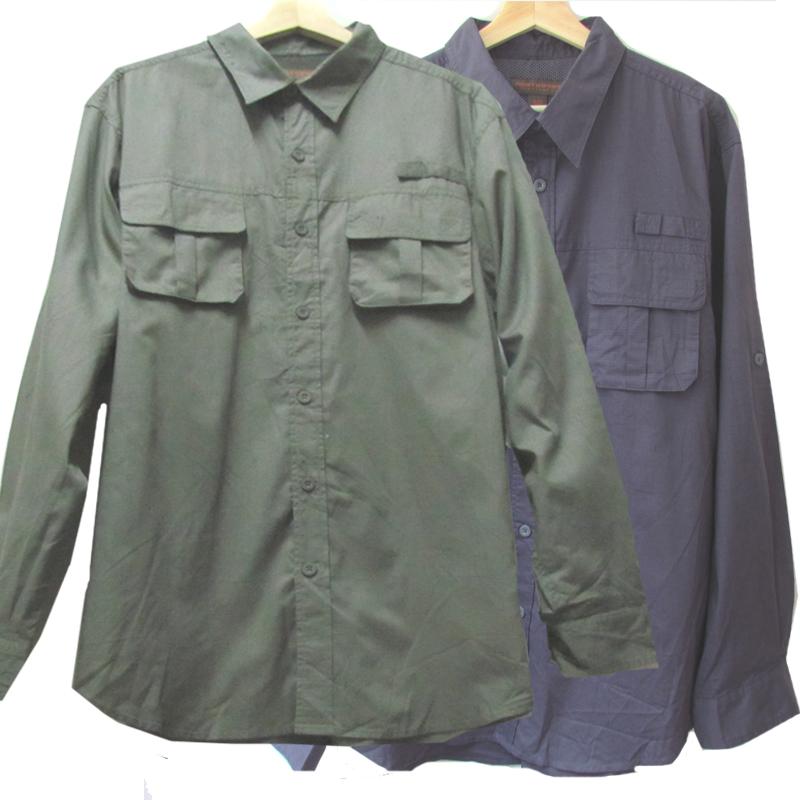商务休闲长袖衬衣超大秋加肥加大码男装速干多口袋衬衫微瑕清货