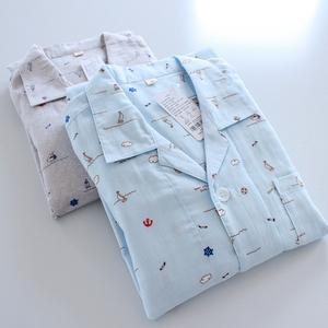 春夏薄纯棉双层纱布家庭亲子装睡衣 儿童情侣海洋元素开衫家居服