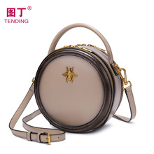 Leather bag women 2019 new fashion messenger bag women's small bag retro versatile women's bag bee carrying small round bag