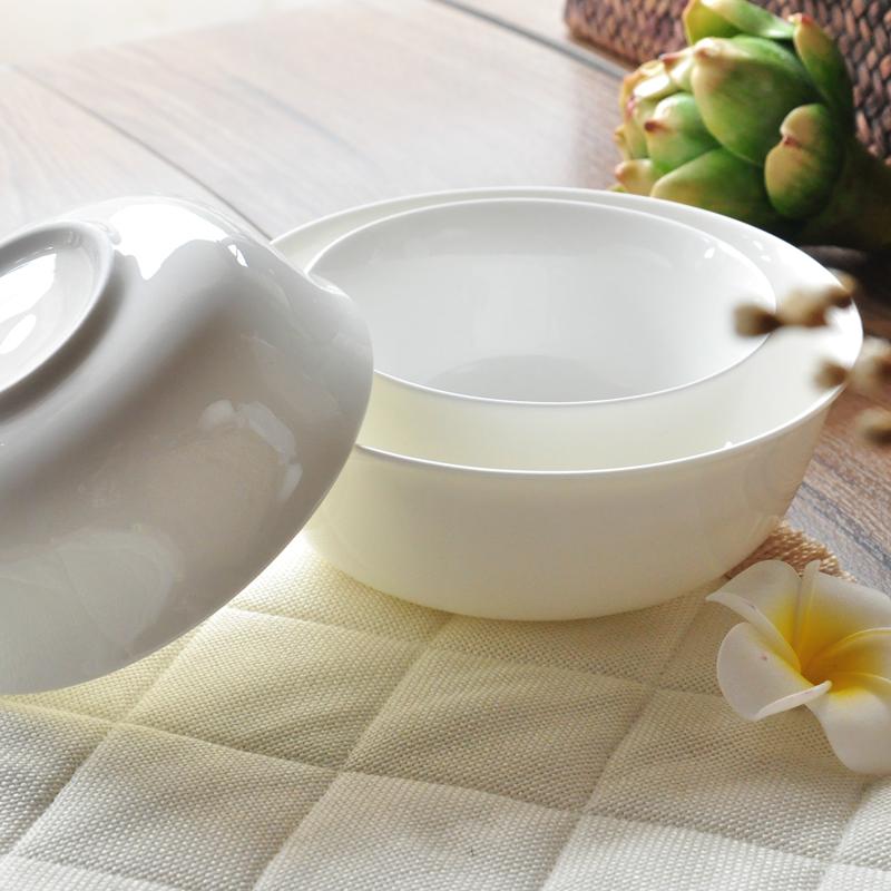 纯白色骨瓷家用套装中式大小米饭碗