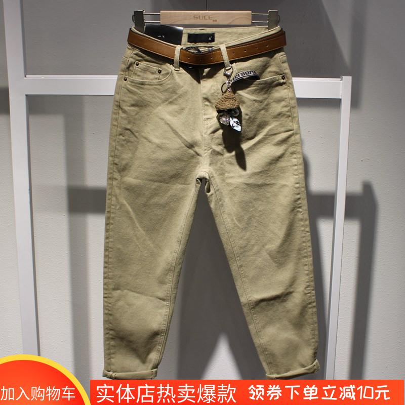KEKI denim时尚卡其色显瘦牛仔垮裤2019年秋季新款韩版女装8138