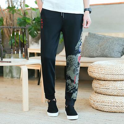 新款中国风长裤刺绣青年帅气哈伦裤k262p85