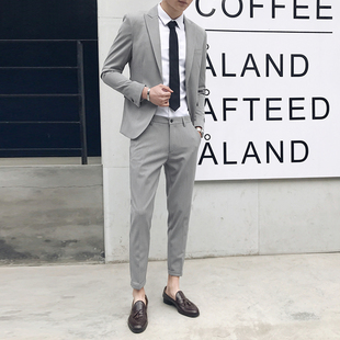 西服套装男潮休闲痞帅韩版修身商务正装青年英伦帅气西装男两件套