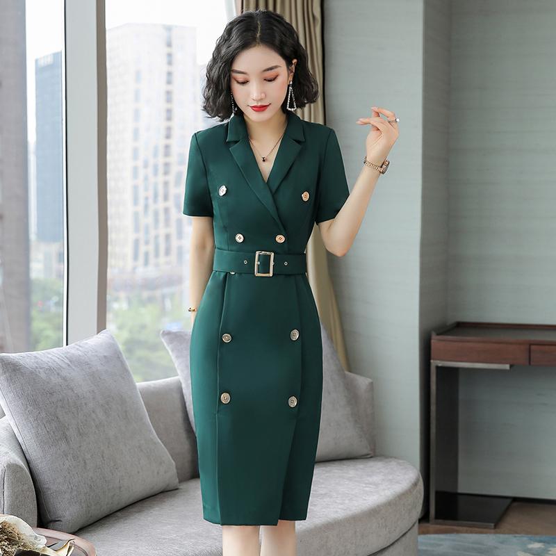 Dress high-end brand 2020 dark green light satin skirt childrens celebrities medium long temperament split suit skirt