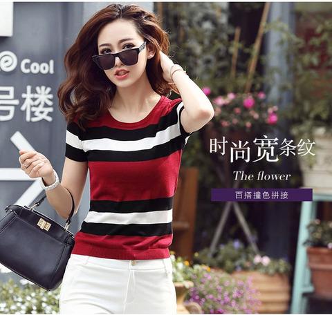 红色圆领条纹短袖女t恤夏季新款韩版宽松冰丝薄款针织衫上衣ins潮