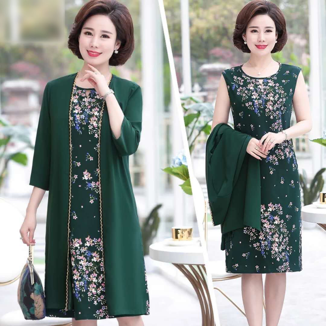 Large size womens dress noble summer dress 50 years old 40 middle aged mother spring coat two pieces skirt middle sleeve