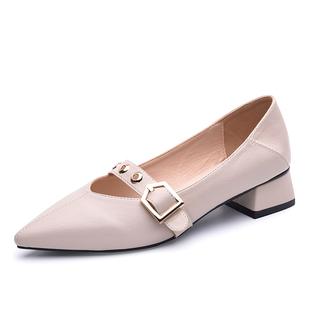 小ck尖頭單鞋女2020新款中跟粗跟淺口搭扣百搭時尚瓢鞋瑪麗珍女鞋
