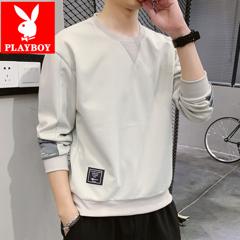 Playboy men's long-sleeved t-shirt spring and autumn bottoming shirt trend loose ins upper clothes sweater men's compassionate shirt
