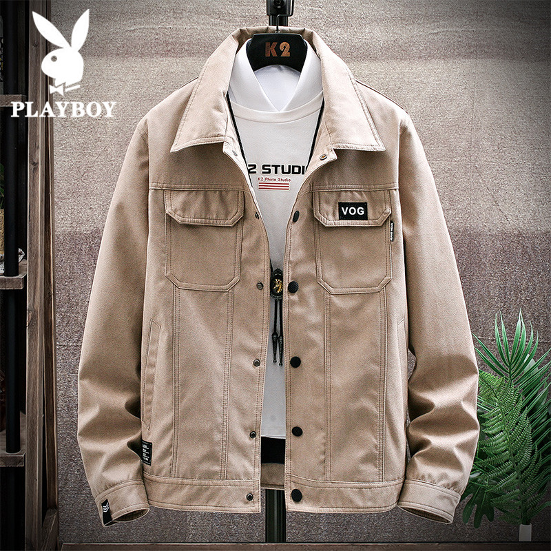 Playboy men's coat, spring tooling, men's clothing, spring and autumn Korean trend, cowboy jacket, man