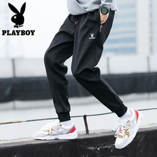 Playboy's casual pants in autumn and winter 2019 men's work clothes and velvet Wei pants trend of men's legged sports pants