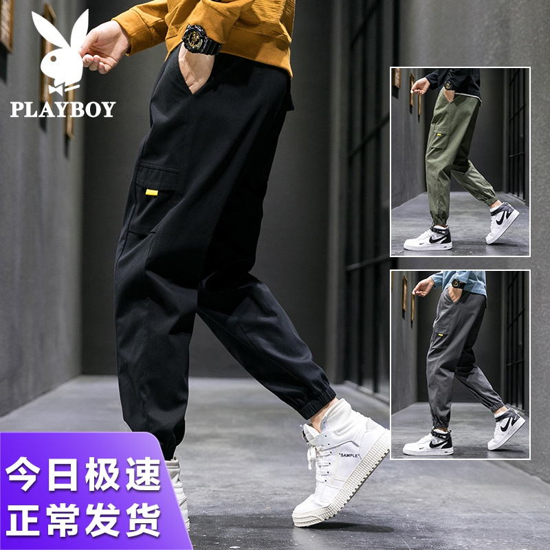 Playboy pants men's spring and autumn ins Korean fashion overalls fashion brand Leggings men's casual pants men