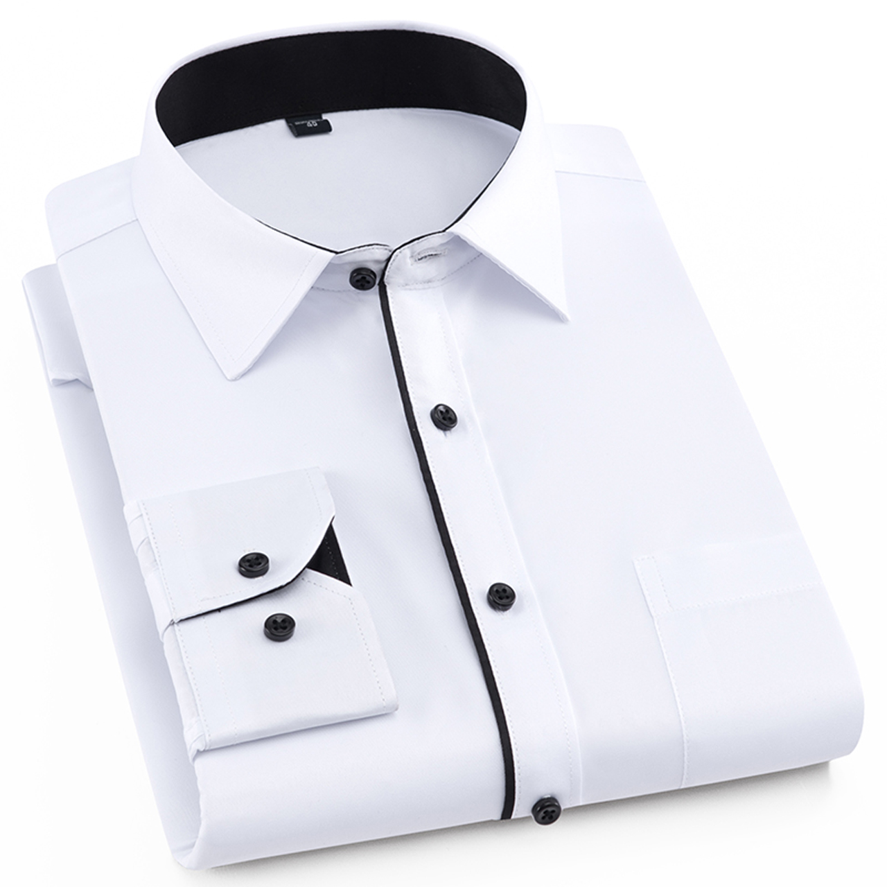 商务休闲抗皱春季纯色白衬衫男长袖寸衣男士衬衣修身职业装