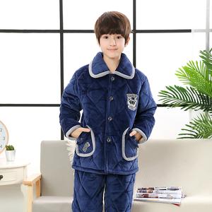 儿童睡衣男童冬季加厚款珊瑚绒夹棉男孩子中大童法兰绒童装家居服