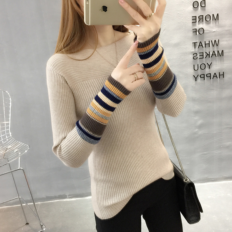 Straight neck sweater womens autumn and winter new slim fit short striped long sleeve knitwear