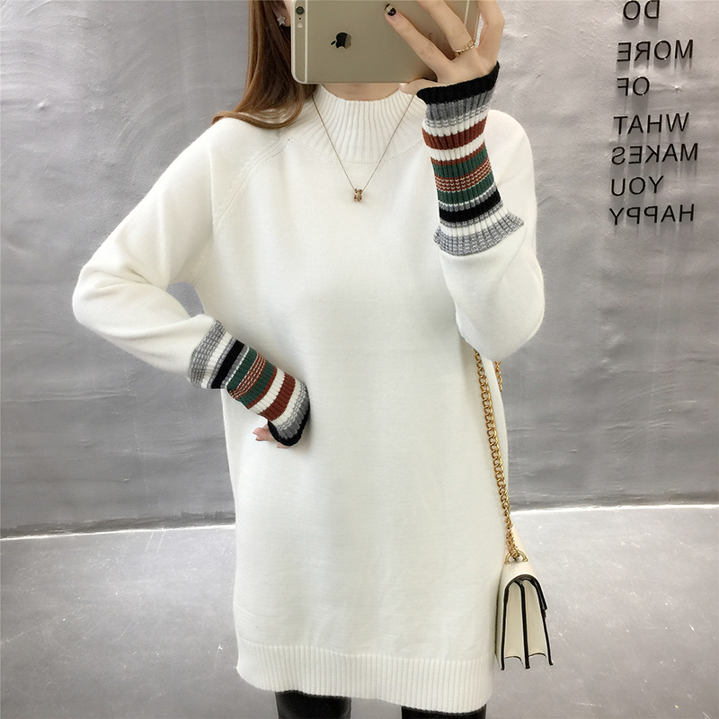 Net red Slouchy high neck sweater womens mid long autumn and winter Korean version loose cover students knitting base coat thickening