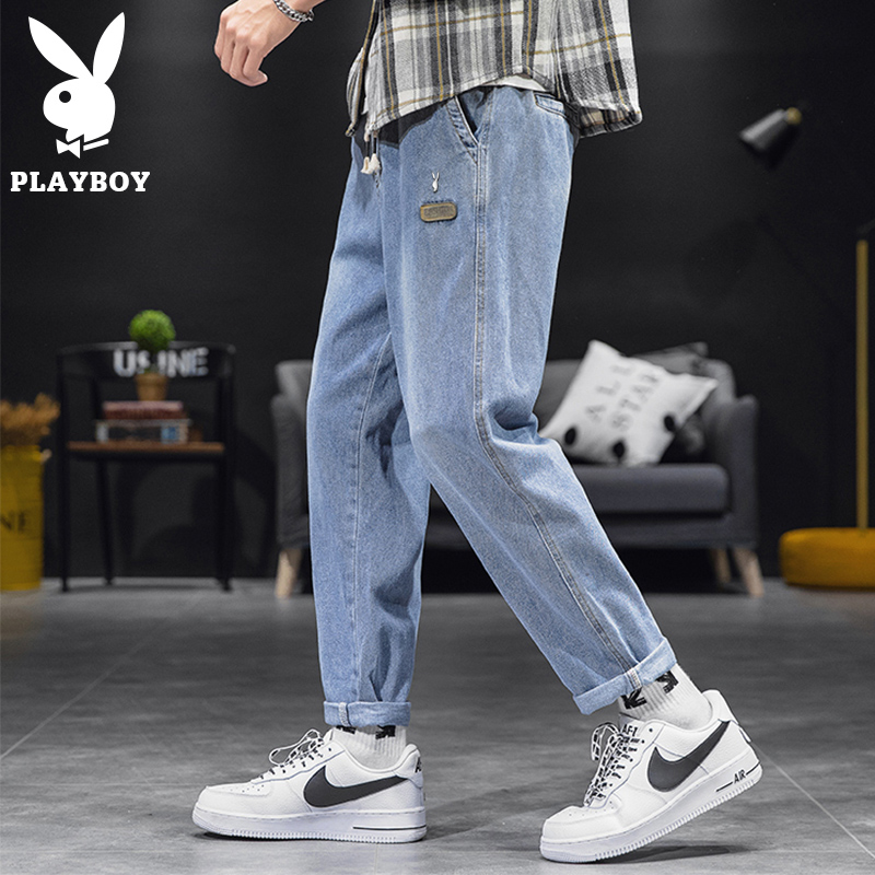 Playboy jeans men's fashion brand loose straight tube spring and summer elastic waist hip-hop dad wide leg long pants
