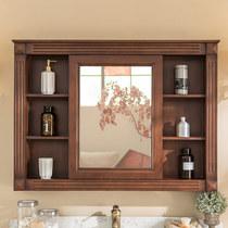 美式浴室柜镜柜挂墙式做旧实木卫生间厕所镜子橡木储物收纳柜吊柜