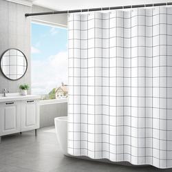 浴室浴帘厕所挡水隔断帘杆套装免打孔防水布卫生间遮挡门帘子高档