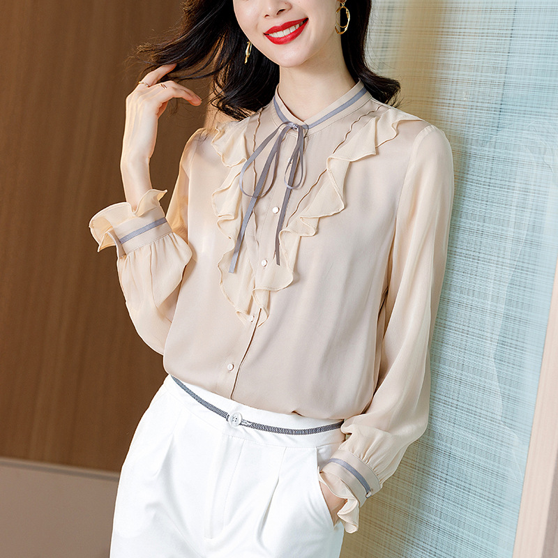 2021新款春装重磅桑蚕丝长袖衬衣优雅荷叶边真丝衬衫女士气质上衣