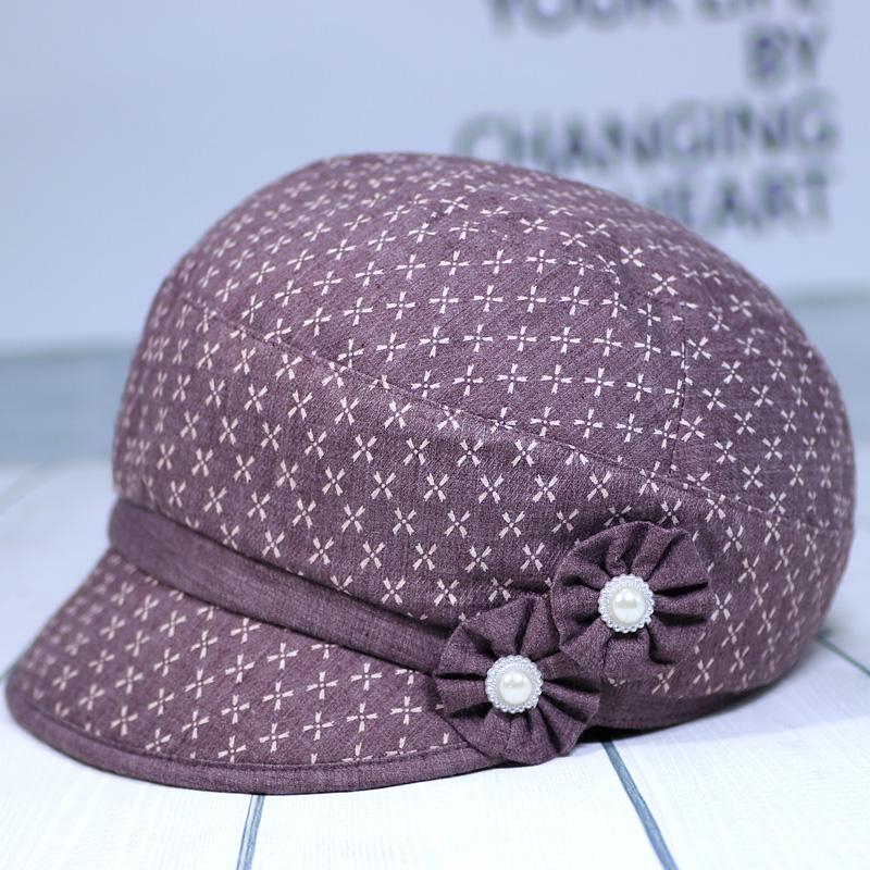 春秋天中老年人帽子女秋中年新薄款时装帽妈妈布帽奶奶鸭舌帽洋气