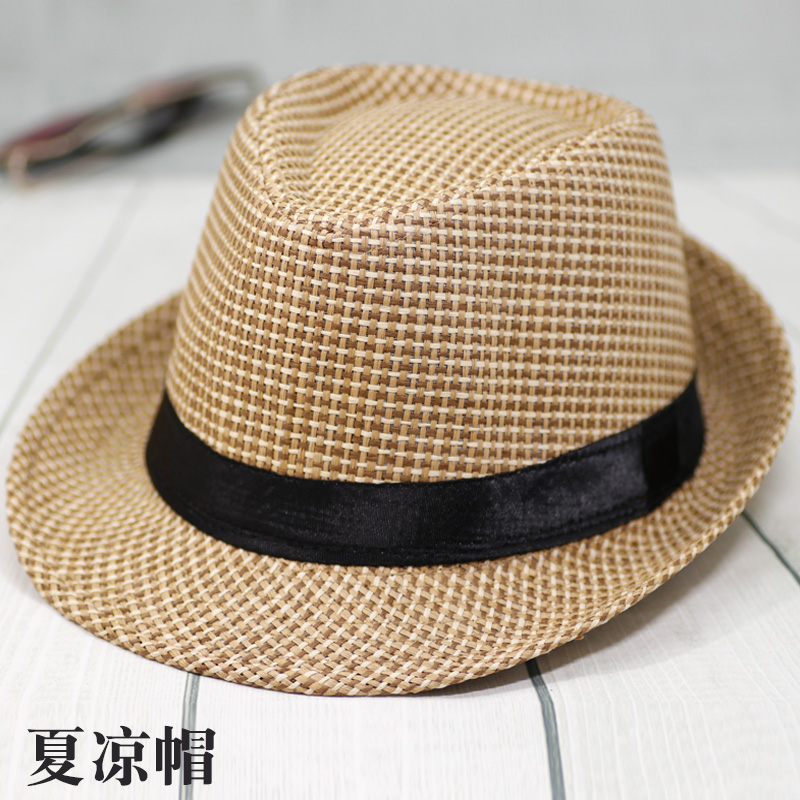 男士草編禮帽格紋爵士帽老人夏涼帽編織旅行中老年遮陽帽子男