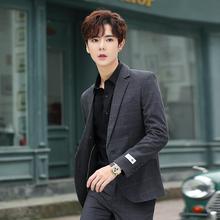 春季格子小西装男士休闲外套韩版修身潮流帅气上衣单西服两件套装