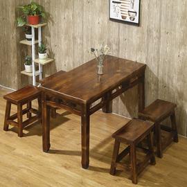 包邮碳化防腐桌椅小吃店烧烤面馆小户型实木快餐桌饭店仿古桌椅套