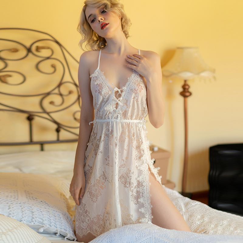 情调衣人白色夏季吊带透明蕾丝睡裙(用69元券)