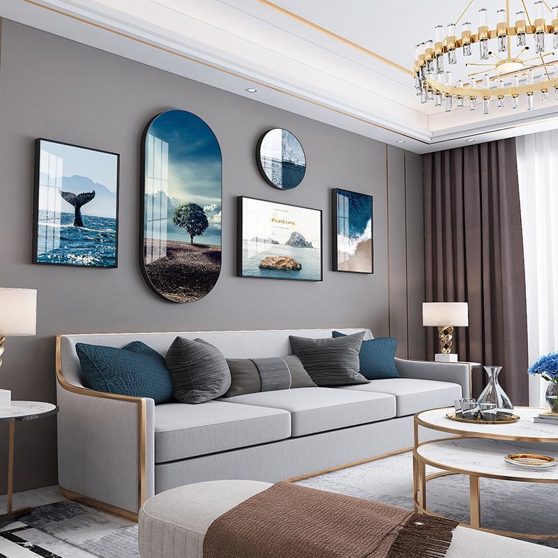 现代客厅沙发背景墙简约高档挂画质量好不好