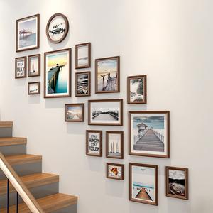 楼梯装饰欧式墙壁上免打孔相框墙