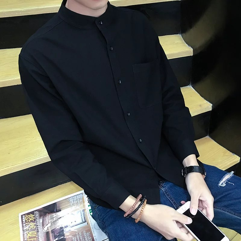 Autumn linen round neck pure black shirt long sleeve mens slim casual Korean handsome shirt student simple style