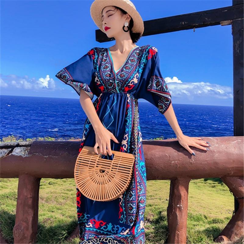 手慢无泰国民族风沙滩裙女夏海边度假波西米亚长裙大码显瘦连衣裙海滩裙
