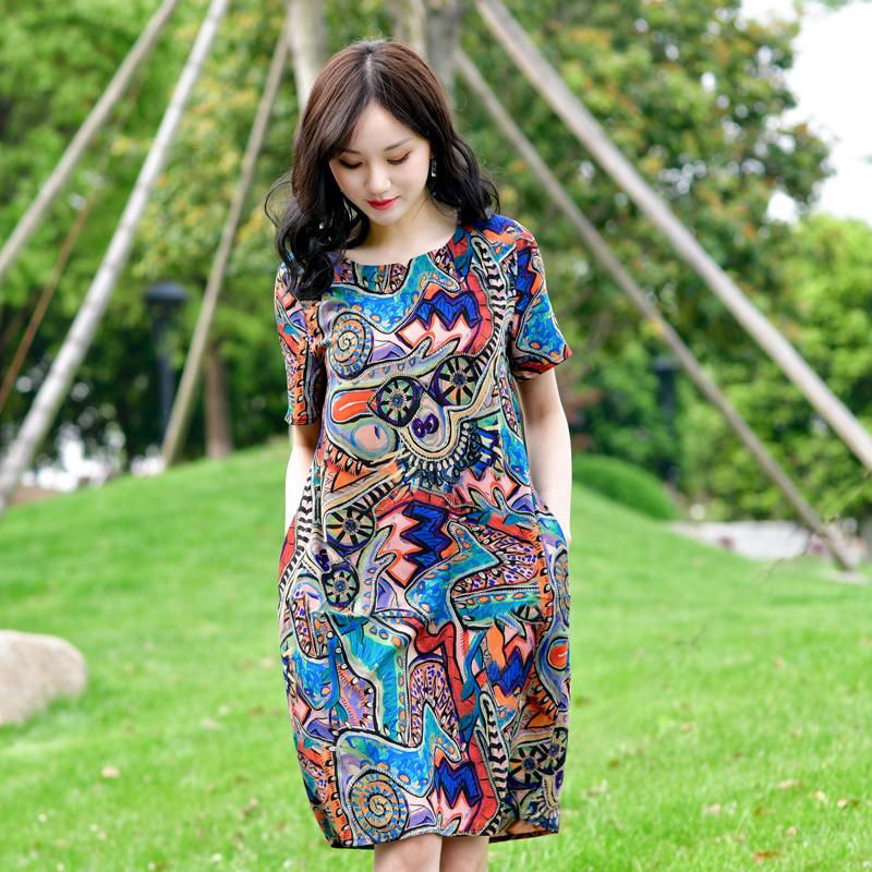 妈妈女装夏天2020新款中老年棉绸人造棉绵中长裙子四五十岁连衣裙